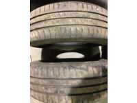 195/65/15 Hankook 95T Pair part worn tyres 6mm BMW 3 5 series Ford C-Max Connect Transit Fiat