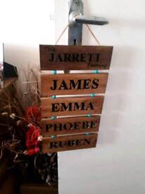 Personalised Family Signs / Craft / Wedding / Gift
