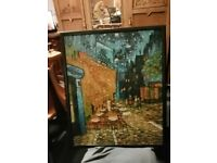 BEAUTIFUL REPRODUCTION OF VAN GOGH'S CAFE TERRACE AT NIGHT PAINTED IN OILS
