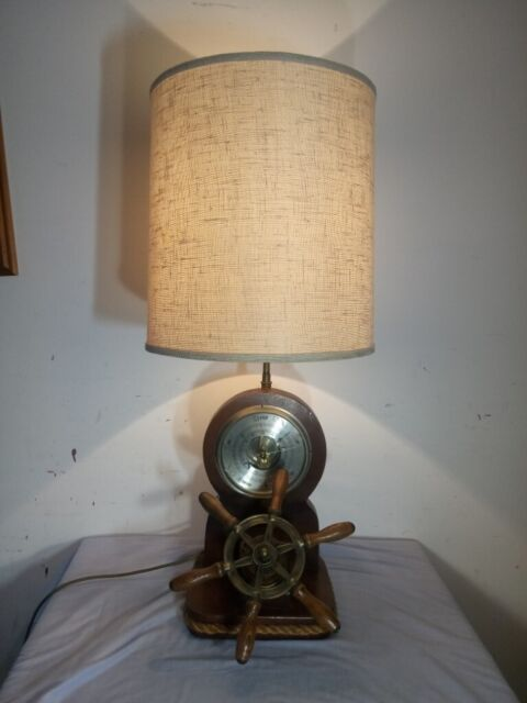 Super Great Vintage Retro Wood Metal Ship Wheel Table Lamp With Barometer In Winchester Hampshire Gumtree Interior Design Ideas Clesiryabchikinfo