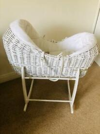 White Noah pod Moses basket with stand and sheets