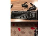 Keyboard and 2 mouse