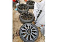 "18"" 5x100 5x112 Audi RS8 S8 Alloy wheels black vw seat skoda golf a3 a4 Leon bora mk4 mk5"