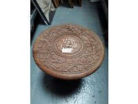 Fold Up Occasional Table - coffee wood carved