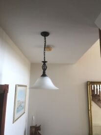 Black Pendant light with White Glass shade