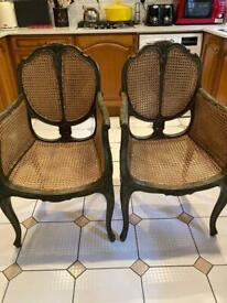 French rattan country style carver chair (pair)