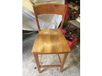 2 Solid Oak Breakfast Bar Chairs