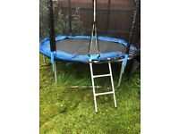 8ft trampoline with enclosure. Small hole in net. Spring cover needs attention. Buyer to dismantle