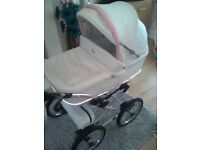 White and pink leather pram/pushchair/car seat and accessories good clean condition
