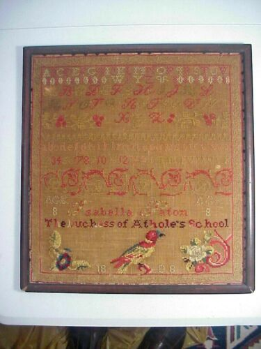 Antique 1808 SAMPLER by Isabella Paton Age 8 THE DUCHESS of ATHOLE