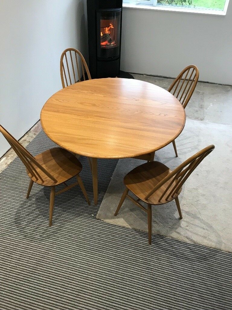 Vintage Ercol drop leaf dining table & 4 Chairs