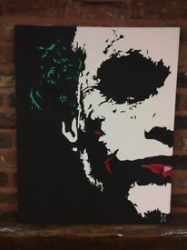 "Heath ledger Joker Painting - Dark Knight - 24""x30"" - Acrylic Canvas - pop art - batman - Christmas"