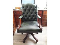 Leather Chair with Studded Back
