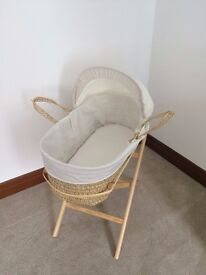 Moses Basket on stand with mattress