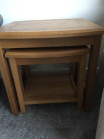 Oak Set of 2 side tables, nest of tables