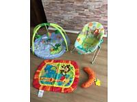 Baby bundle. Baby gym, vibrating bouncer and tummy time mat