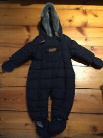 Mothercare Navy blue snowsuit / coat for baby 3-6 months