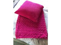 Fuchsia Pink Throw and cushion