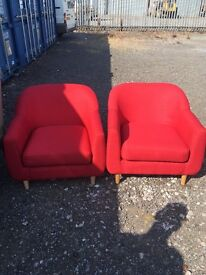 Made-com two times chubby red armchairs RRP £499.99