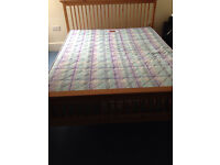 king size wooden bed frame with mattress
