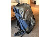 Large Berghaus shadow 60+15 litre rucksack 75ltr backpack blue grey black