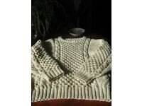 Aran pure wool sweater L-XL. Handknitted in washable pure wool. Sold at cost of wool.