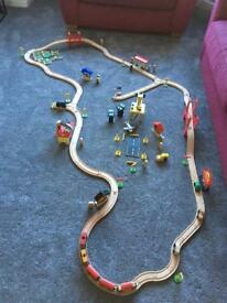 Wooden city train set including accessories