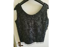 Black vintage sequin evening top