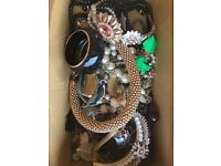 Shoe box of costume jewellery
