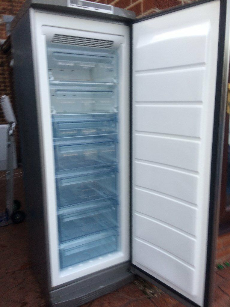 BRUSH STAINLESS STEEL FROST FREE PHILCO UPWRIGHT FREEZER IN GOOD WOORKING CONDITION.