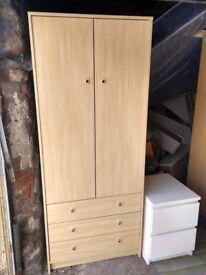 small wardrobe light beech 3 drawers and 2 doors 180cm hx75cm w x50cm deep £60