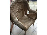 Conservatory Cane sofa and two chairs