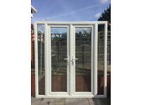 UPVC DOUBLE GLAZED FRENCH DOOR WITH SIDE PANELS 194.5cm WIDE 210m HIGH 6 KEYS Can deliver
