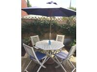 Garden table and chairs with parasol & stand & seat cushions