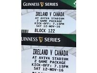 Ireland v Canada Rugby Tickets x2 - Great seats - Lower tier - 12/11/16