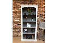 Rustic painted bookcase display cabinet shelving storage
