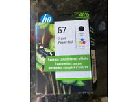 Printer ink 67 2 pack black and tri colour