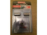 Powerfix drill template set - 5 piece set - brand new & unused