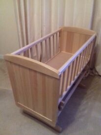 Mothercare Deluxe Gliding Crib natural wood finish,
