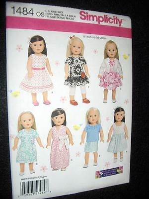 "18"" DOLL NEW Simplicity 1484 Pattern  Summer Clothes Morin Fits American Girl"