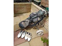 Womens golf clubs bag and trolley