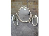 Shabby Chic white & gold 3 way mirror