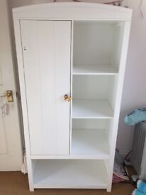 White Children's wardrobe with hanging rail and shelves