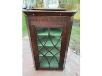 Antique dark wood glass door corner cabinet