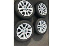 Set of 4 16 inch alloy wheels and winter tyres from 2007 BMW 3 Series.