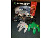 Nintendo 64 with Zelda skin, 2 official controllers 3 games including 007 and all cables