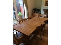 hand made pine table and 6 chairs