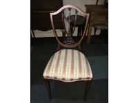 Lovely Antique Mahogany Inlaid Shield Back Occasional Chair