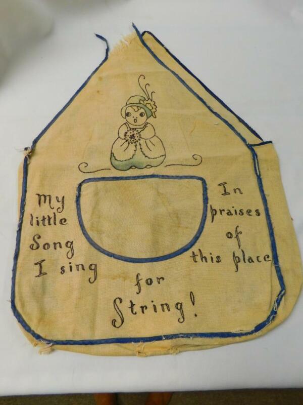 Antique Vintage VOGART TINTED EMBROIDERED Linen Sewing String Bag w Pocket