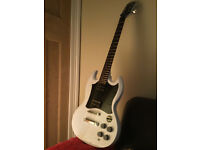 Epiphone By Gibson, White SG Electric Guitar, Ex/Condition, bass,acoustic,stringed instrument